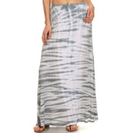Women's Maxi Tie Dye A-Line Skirt #14072TD Gray Made In USA