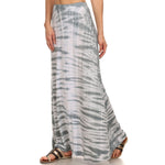 Women's Maxi Tie Dye A-Line Skirt #14072TD Gray Made In USA - IDI Clothing - Where you can buy directly for the designer manufacturer-Made In USA :)