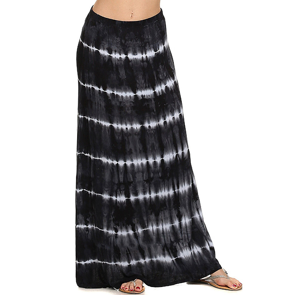 Women's Maxi Tie Dye A-Line Skirt #14072THS Black White Made In USA