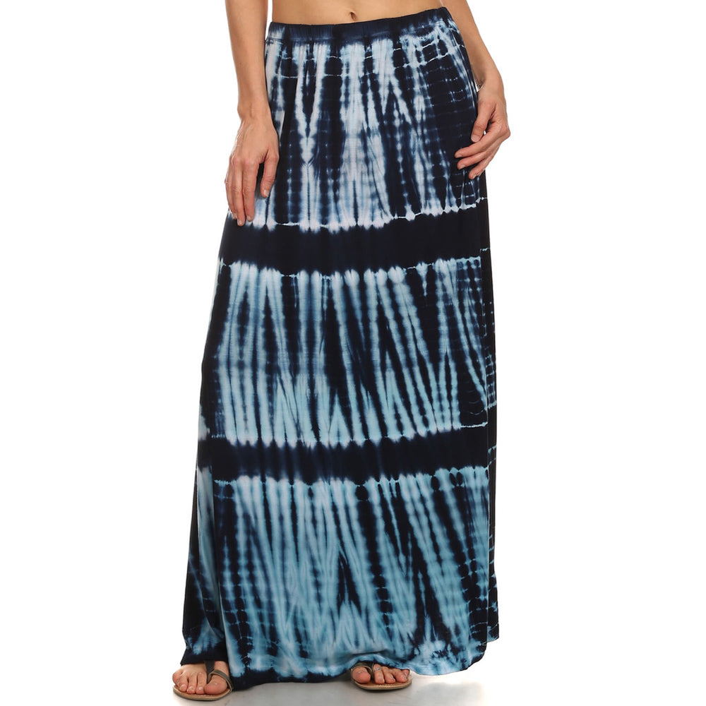 Ladies Maxi Tie Dye A-Line Skirt - Navy Combo
