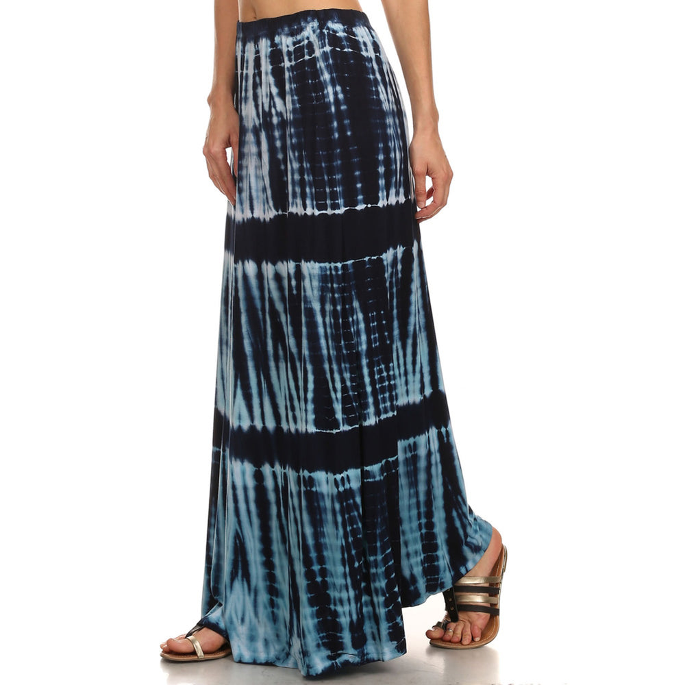 Women's Maxi Tie Dye A-Line Skirt #14072TTMB Navy Made In USA - IDI Clothing - Where you can buy directly for the designer manufacturer-Made In USA :)