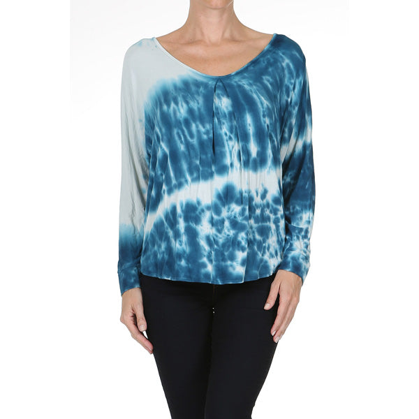 Women's Tie Dye Back Ribbon Keyhole Long Sleeve Top #14141