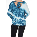 Women's Tie Dye Back Ribbon Keyhole Long Sleeve Top #14141 - IDI Clothing - Where you can buy directly for the designer manufacturer-Made In USA :)