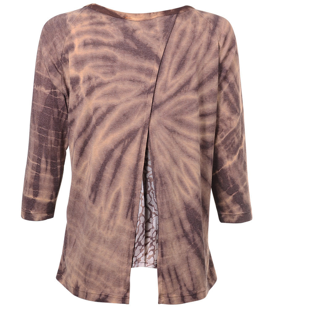 Women's Casual Tie Dye Back Slit 3/4 Sleeve Top #14170 - IDI Clothing - Where you can buy directly for the designer manufacturer-Made In USA :)