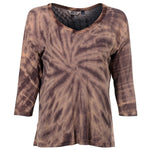 Women's Casual Tie Dye Back Slit 3/4 Sleeve Top #14170