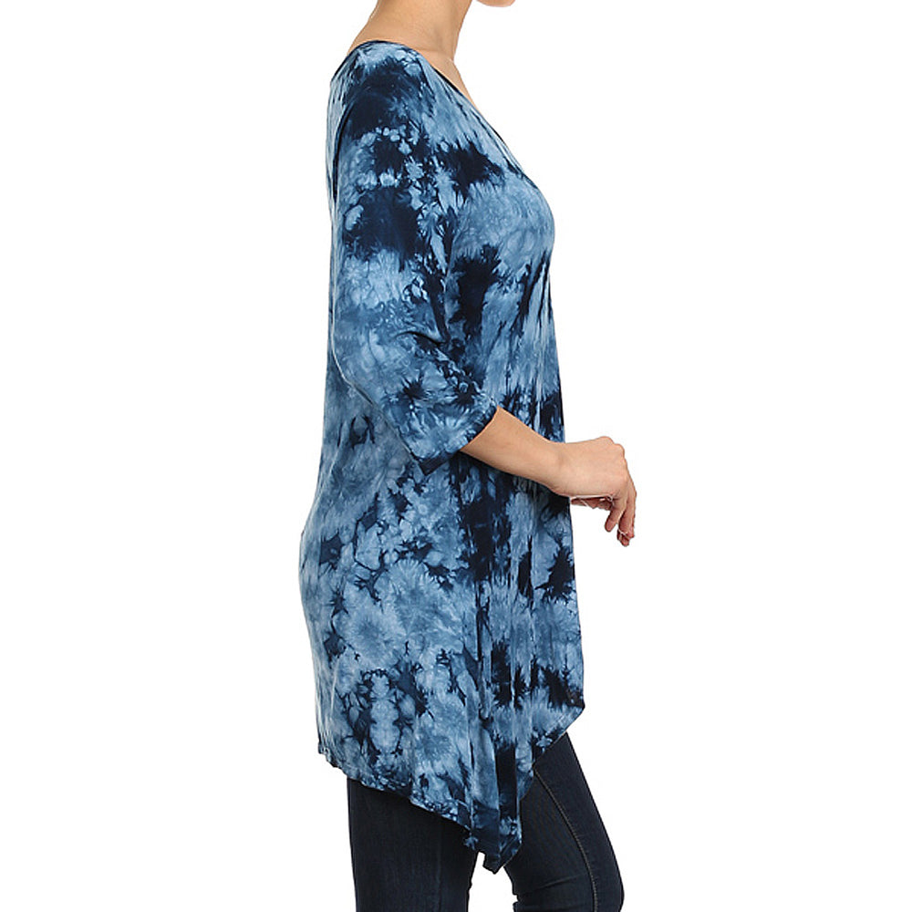 Women's Tie Dye Shark bite Top #14171XRW  Blue Made in USA - IDI Clothing - Where you can buy directly for the designer manufacturer-Made In USA :)