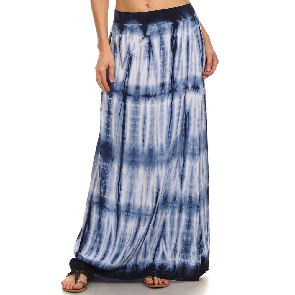 Women's Tie Dye Maxi Skirt #14193 MCB Navy White Made In USA