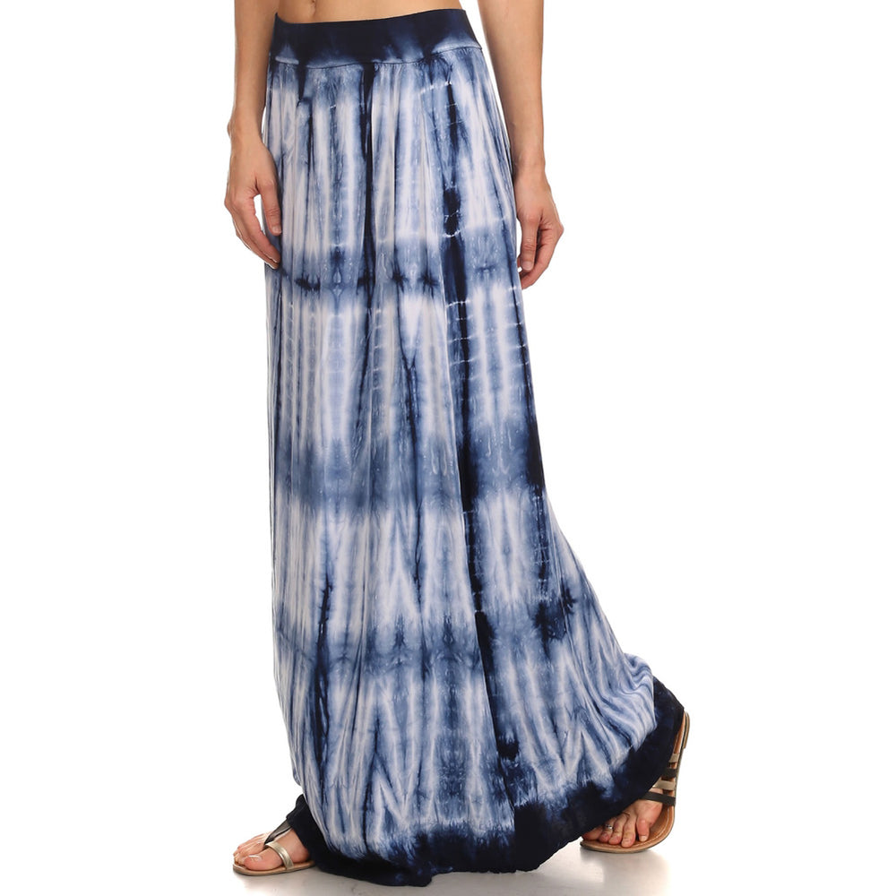 Women's Tie Dye Maxi Skirt #14193 MCB Navy White Made In USA - IDI Clothing - Where you can buy directly for the designer manufacturer-Made In USA :)