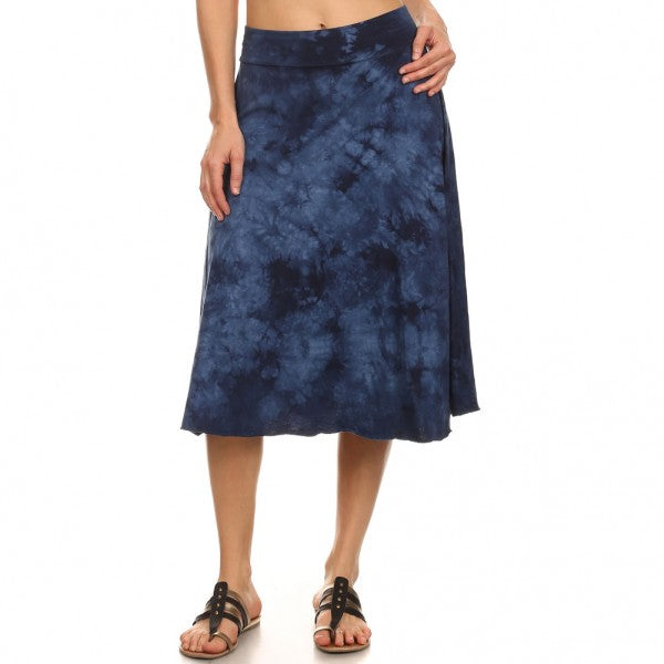 Women's Midi Tie Dye Circle Skirt #14723 D Blue Made In USA.