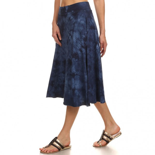 Women's Midi Tie Dye Circle Skirt #14723 D Blue Made In USA. - IDI Clothing - Where you can buy directly for the designer manufacturer-Made In USA :)