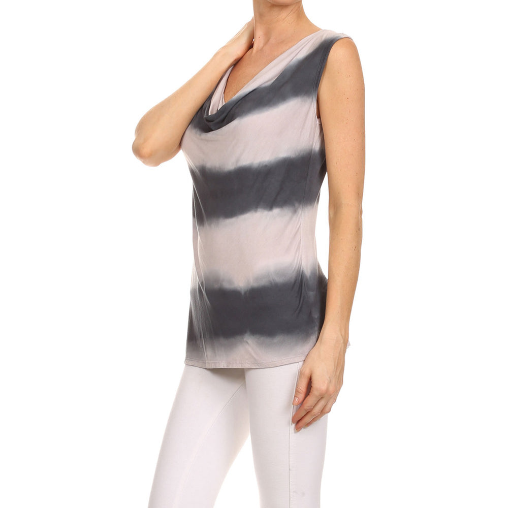 Women's Tie Dye Cowl's Neck Capped Sleeve Top #14361 - IDI Clothing - Where you can buy directly for the designer manufacturer-Made In USA :)
