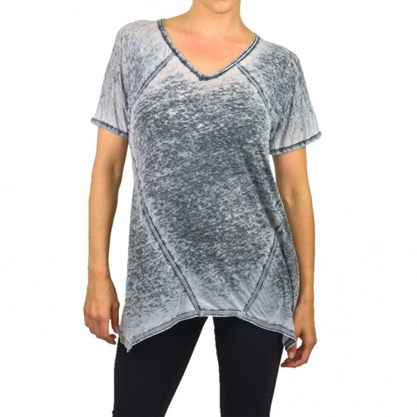 Womens Burnout Kite Trim V-Neck Top #14693 - IDI Clothing - Where you can buy directly for the designer manufacturer-Made In USA :)
