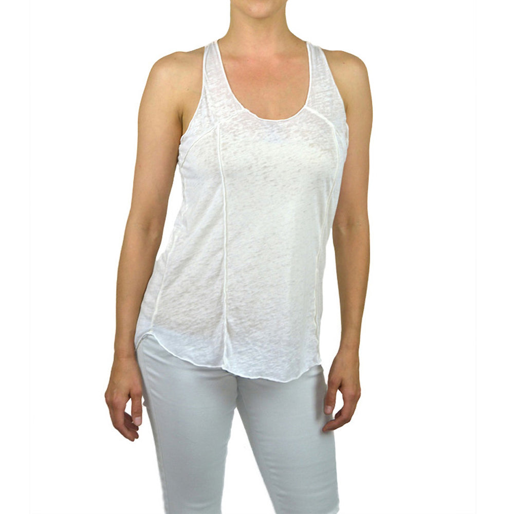 Women's Scoop Neck Racer Back Burnout Tank Top #14698 BO White Milk Made In USA