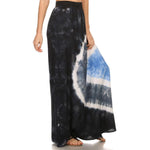 Lined Tie Dye  Maxi Skirt,  Drapey Rayon Spandex  #15243SUN Black Charcoal Blue Made In USA - IDI Clothing - Where you can buy directly for the designer manufacturer-Made In USA :)