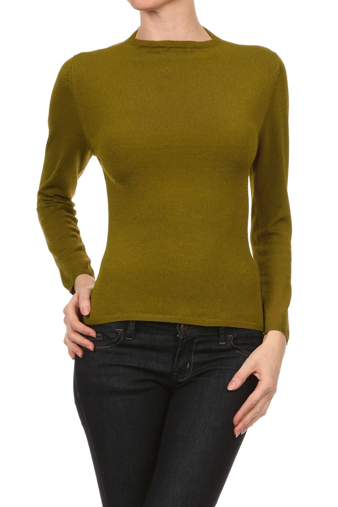 Women's Viscose/Spandex Yarn Sexy Long Sleeve Top #7016