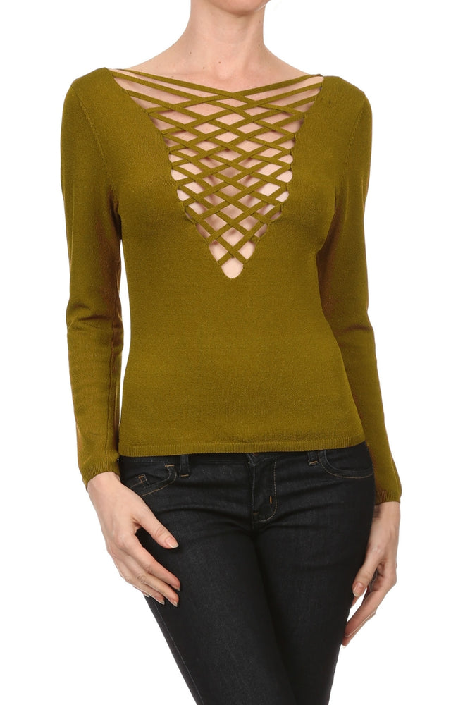 Women's Viscose/Spandex Yarn Sexy Long Sleeve Top #7017