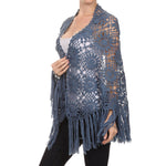 Hand Made Crochet Shawl #8960  Steel Blue - A Layering Piece :) Wool Mix