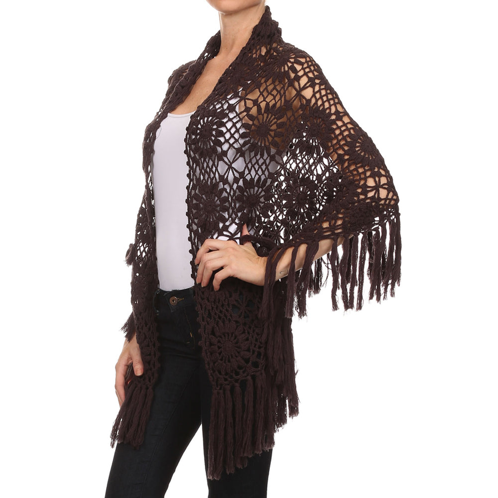 Crochet Shawl #8960 Hand Made - A Layering Piece :) - IDI Clothing - Where you can buy directly for the designer manufacturer-Made In USA :)