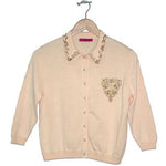 Women's Beaded Collared Vintage Cardigan #9282