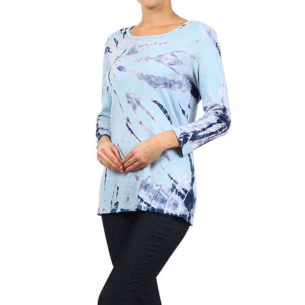 Women's Tie Dye Round Neck 3/4 Sleeve Top #9297A Navy-Blue Made In USA - IDI Clothing - Where you can buy directly for the designer manufacturer-Made In USA :)