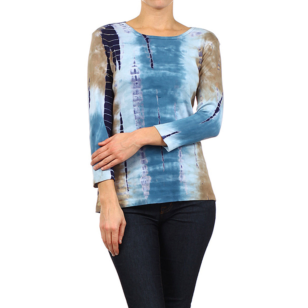 Women's Tie Dye Round Neck 3/4 Sleeve Top #9297LLV Denim - Kahki Made In USA - IDI Clothing - Where you can buy directly for the designer manufacturer-Made In USA :)