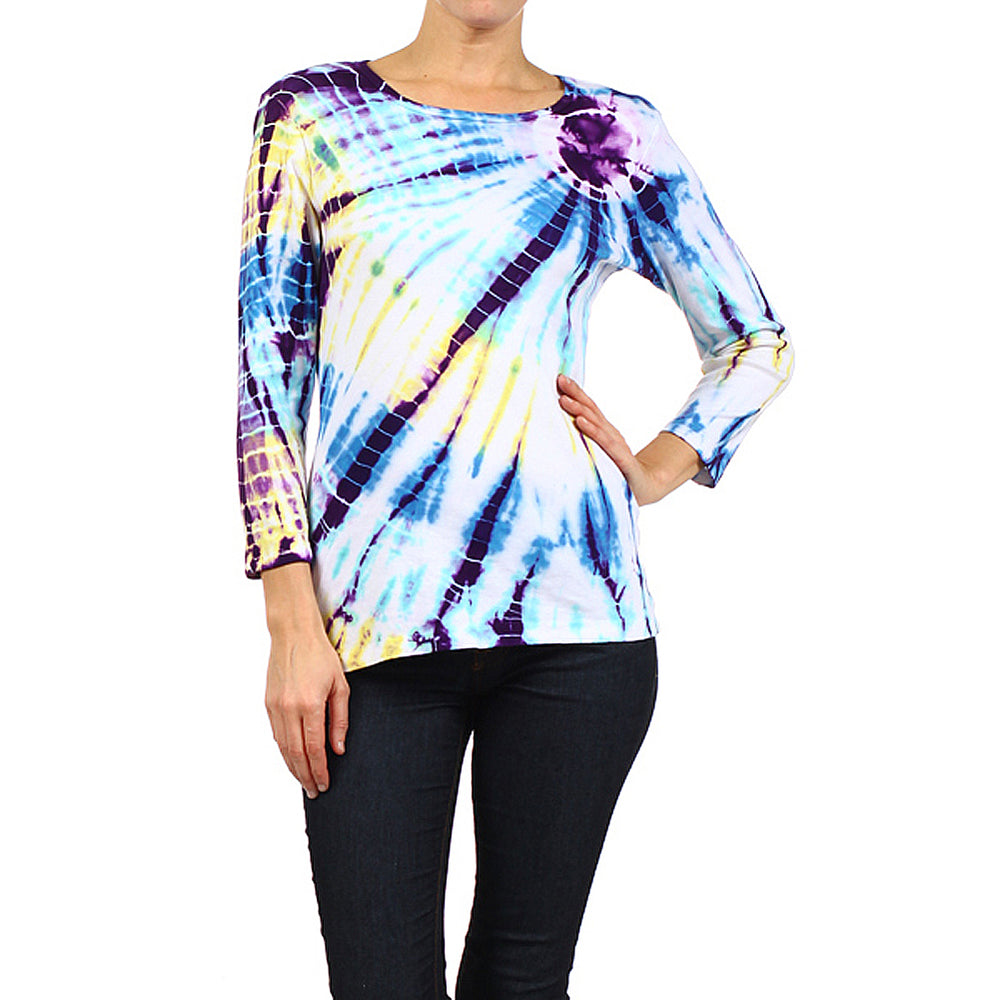 Women's Tie Dye Round Neck 3/4 Sleeve Top #9297SSW Aqua- Purple Made In USA