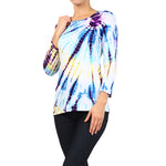 Women's Tie Dye Round Neck 3/4 Sleeve Top #9297SSW Aqua- Purple Made In USA - IDI Clothing - Where you can buy directly for the designer manufacturer-Made In USA :)