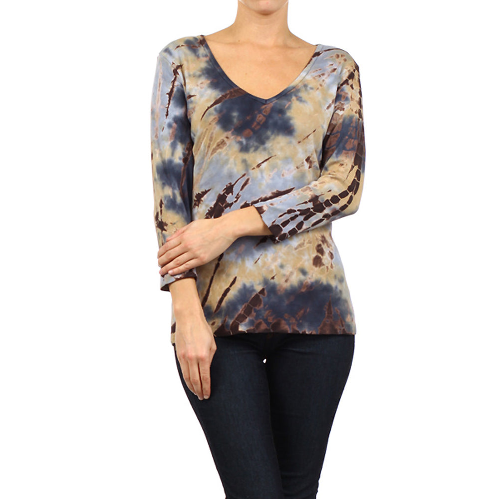 Women's 3/4 Sleeve Tie Dye V-Neck Top #9311BWW Beige Brown Blue Made In USA