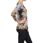 Women's 3/4 Sleeve Tie Dye V-Neck Top #9311BWW Beige Brown Blue Made In USA - IDI Clothing - Where you can buy directly for the designer manufacturer-Made In USA :)