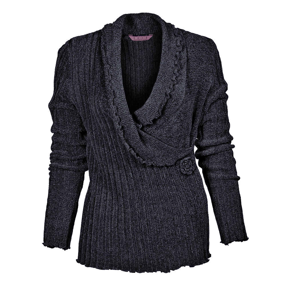 Women's Chenille Deep V Neck Sweater #9622 Mauve - IDI Clothing - Where you can buy directly for the designer manufacturer-Made In USA :)