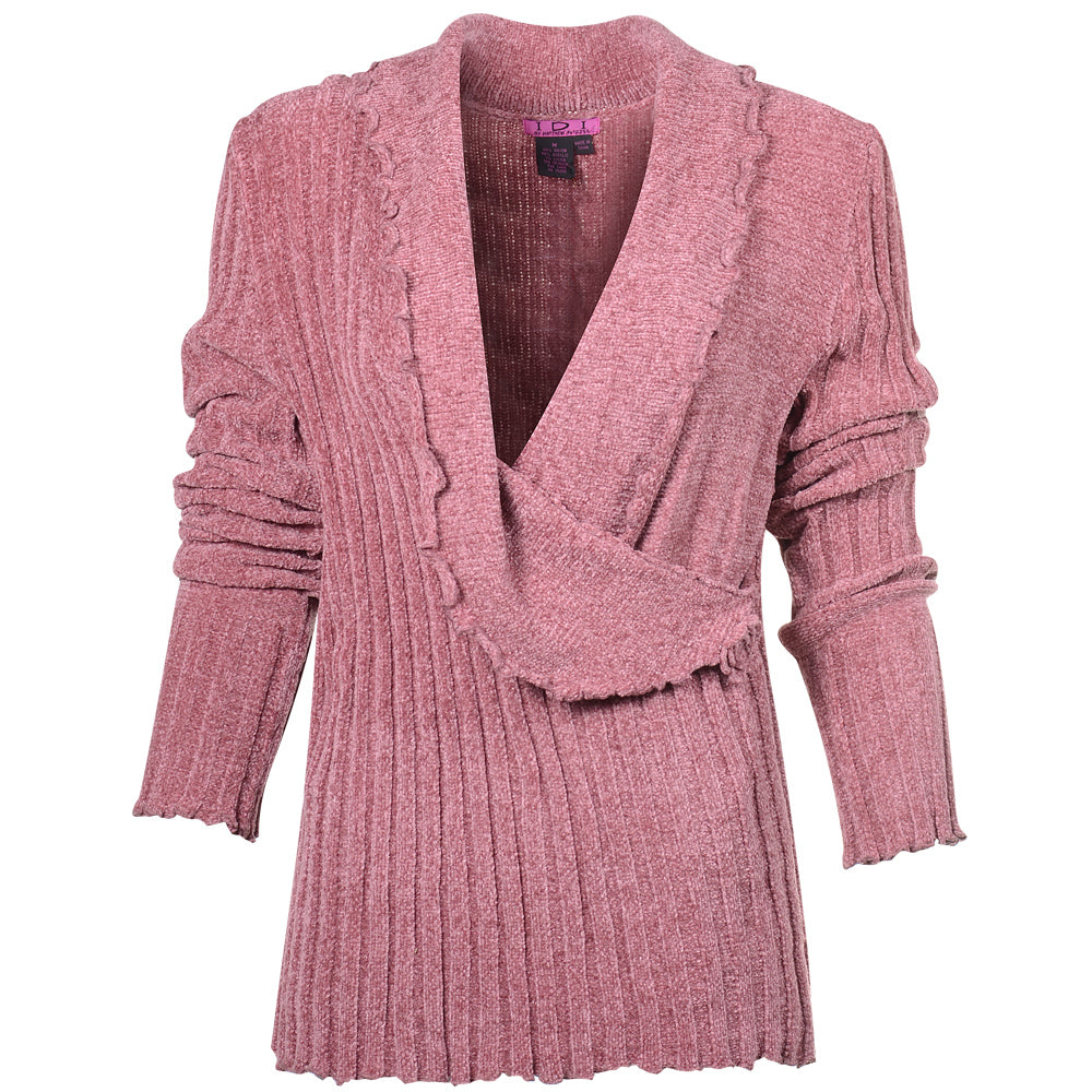Women's Chenille Deep V Neck Sweater #9622 Mauve