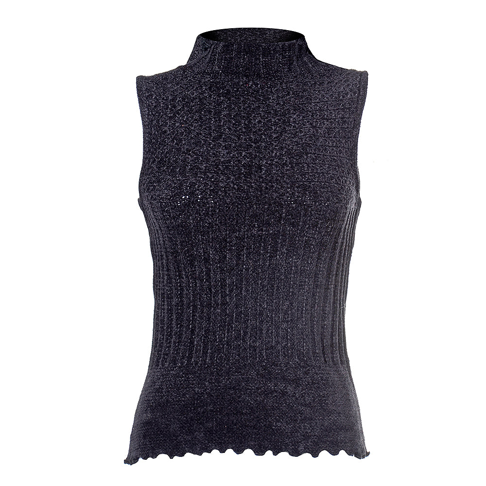 Women's Sleeveless Turtleneck Chenille Sweater #9623