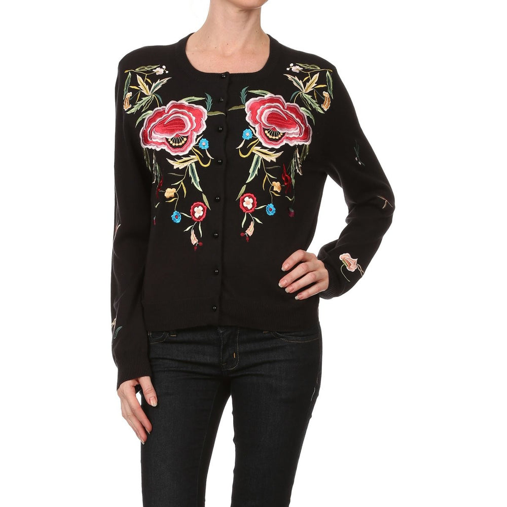 Women's Long Sleeve Floral Embroidered Cardigan #9667