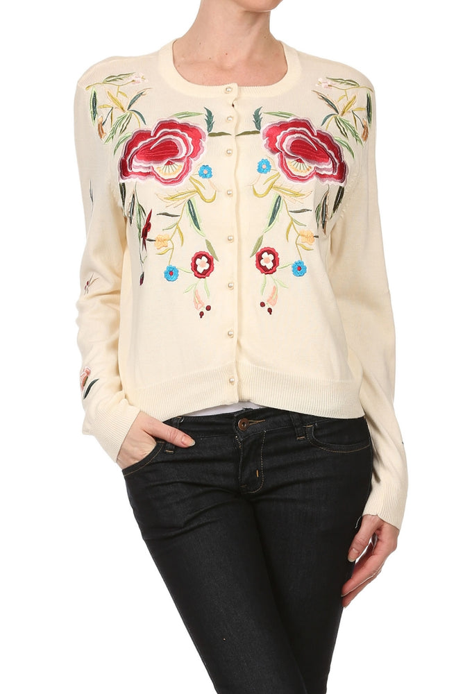 Women's Long Sleeve Floral Embroidered Cardigan #9667 - IDI Clothing - Where you can buy directly for the designer manufacturer-Made In USA :)