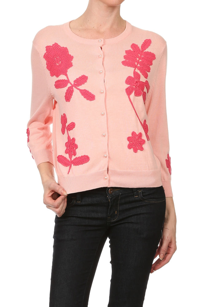 Women's 3/4 Long Sleeve Floral Crochet Patches Vintage Cardigan #9671 - IDI Clothing - Where you can buy directly for the designer manufacturer-Made In USA :)