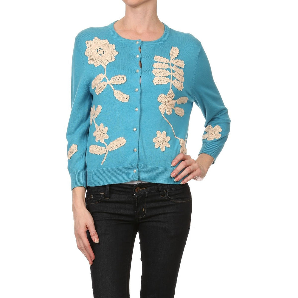 Women's 3/4 Long Sleeve Floral Crochet Patches Vintage Cardigan #9671