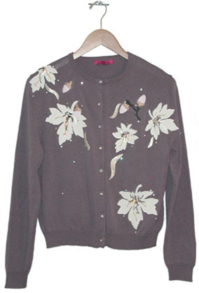 Women's 3/4 Long Sleeve Beaded and Embroidered Vintage Cardigan #9672 - IDI Clothing - Where you can buy directly for the designer manufacturer-Made In USA :)