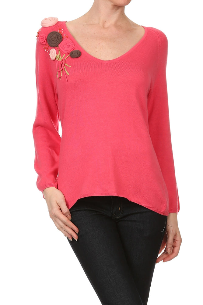 Women's Long Sleeve Sweater Decorated with Flower Patches #9705