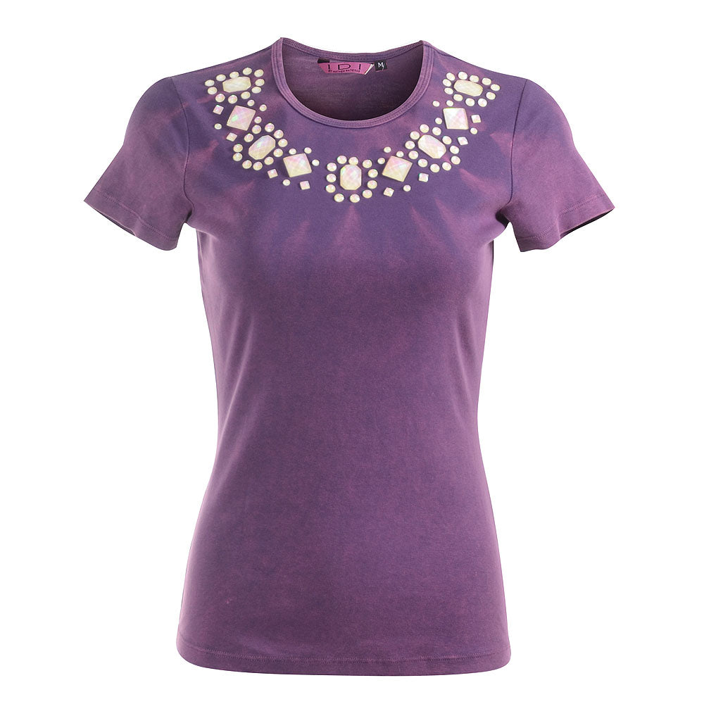 Women's Embellished Short Sleeve Top #9092 SPS Plum - IDI Clothing - Where you can buy directly for the designer manufacturer-Made In USA :)