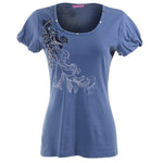 Women's Embroidered Art Pleated Short Sleeves T-Shirt #11613 - IDI Clothing - Where you can buy directly for the designer manufacturer-Made In USA :)