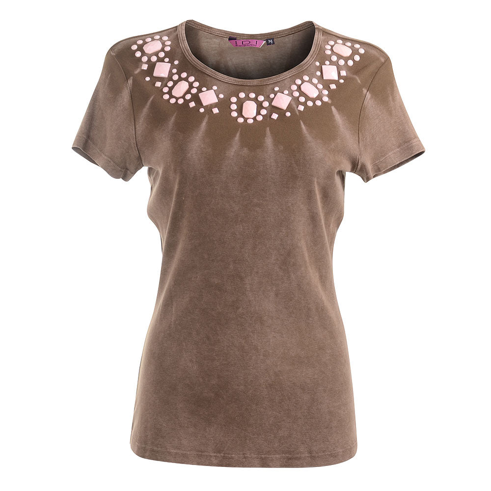 Women's Jeweled Washed Effect Short Sleeve Top #9092 - IDI Clothing - Where you can buy directly for the designer manufacturer-Made In USA :)