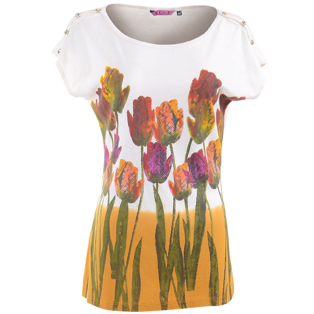 Women's Floral Printed Cotton Designer Look knit Top #11132 Made In USA - IDI Clothing - Where you can buy directly for the designer manufacturer-Made In USA :)