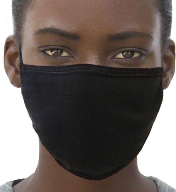 Face Mask-Two Layered Unisex 100% Cotton  #15260-5 (Pack of 5) BLACK + Nose guard wire