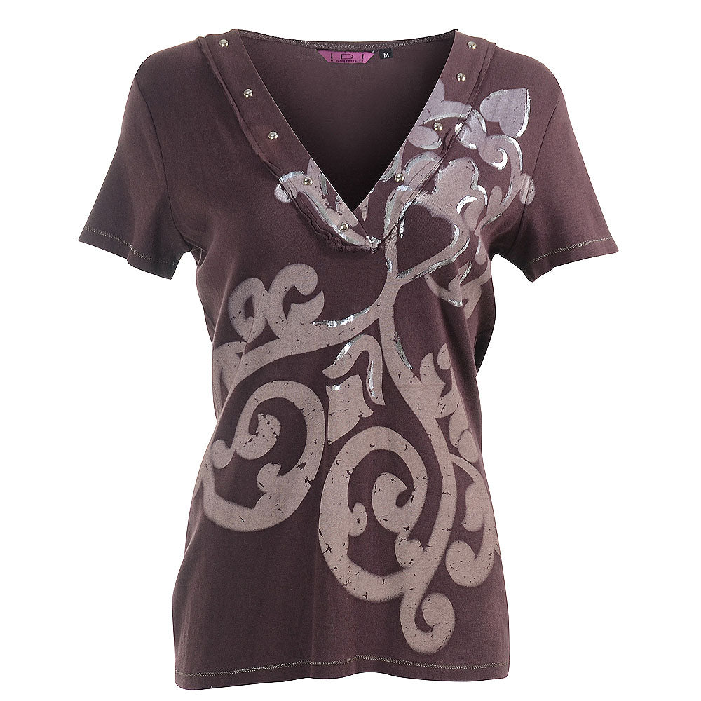 Women's Tie Dye V-neck Top #11611 - IDI Clothing - Where you can buy directly for the designer manufacturer-Made In USA :)