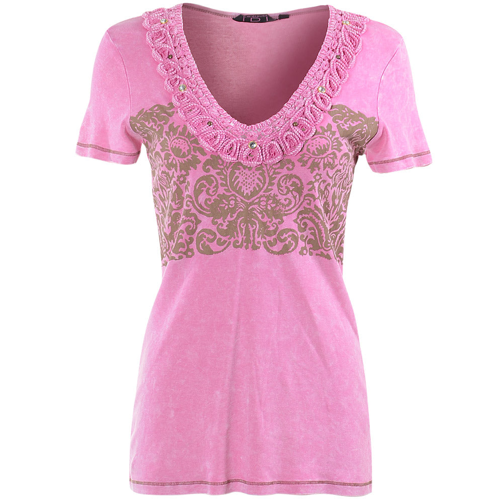 Women's V-neck Short Sleeve Top #11607