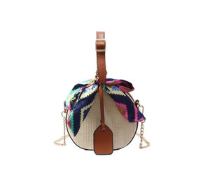Tote Straw Handbag With Scarve
