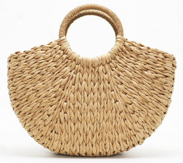 Moon Shaped Straw Summer Bag