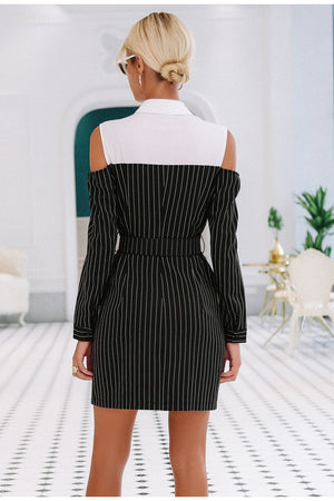 Elegant Stripe Dress With Sash