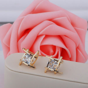 Luxury Gold Color Zircon Earrings