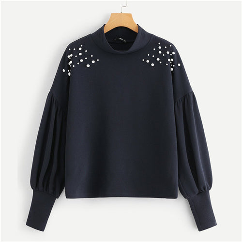 Women Sweatshirt With Pearls